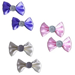 Bows with sparkle diamonte on beak clip x 2 (CL0532)